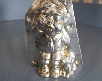 Crying Boy with Dog by H. Walter #8623 Vintage Metal Candy Mold