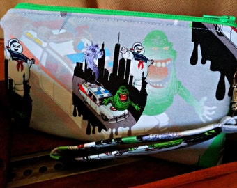 Ghostbusters Wristlet - Slimer Clutch - Ecto-1 Zippered Pouch - Stay Puft - OOAK - Custom Made