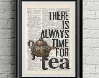 Tea quote vintage dictionary print