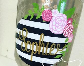 Striped Floral Monogram Decal | Floral Monogram Sticker | Custom Tumbler | Vinyl Sticker | YETI RTIC SIC Cup Acessory | Womens Yeti