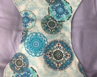 Blue pinwheels  burp cloth