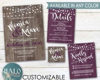 Purple Rustic Wedding Invitations - Plum, Eggplant, Purple, Wood, Invitation Kit