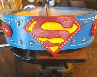 Leather Dog Collar, Hand Crated custom made Leather Superman Dog Collar
