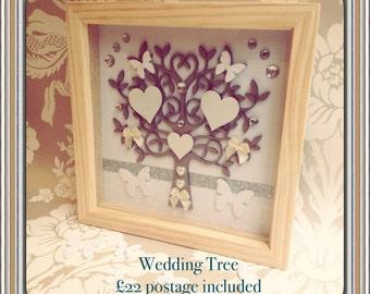 Wedding Tree/weddinggift/white/hearts/handmade/silver/bride/groom/anniversary