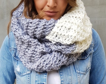 White grey soft handmade scarf, cozy winter hand knit infinity cowl scarf, Wool neck warmer, Crochet oversized neck warm long scarf