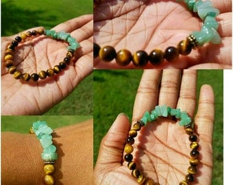 Unisex 7mm Tigers Eye Bracelet w/ Aventurine Chips and Gold spacers! Money Attraction bracelet Semiprecious Crystals