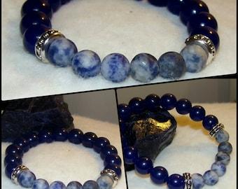 Unisex Sodalite & Blue Jade SemiPrecious Bead Bracelet Silver Spacers Reiki Healing Chakra Balancing Women's Men's Boho Trendy Yoga Crystals