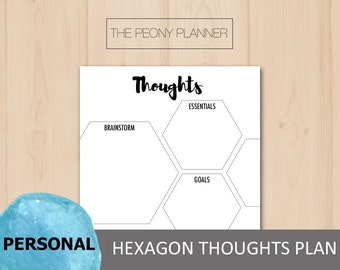 Printable | THOUGHTS Hexagon Planner Insert | Personal Size | Daily, Weekly, Notes | Filofax, Kikki K Planners