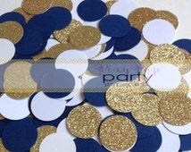 Nautical Party Confetti, Navy Blue, White and Gold Glitter Confetti, Party Table Decor, Party Table Scatter 240pc