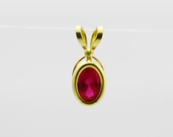 Antique Pink Gemstone Pendant, 14k Gold Pendant, Gold Jewelry, Gemstone Jewelry