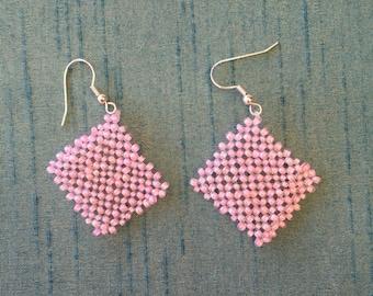 Handmade, pink glass earrings.