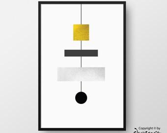 Mid Century Art, Printable Geometric Poster, Yellow Black Geometric Art, Scandinavian Print, Nordic Poster, Modern Mid Century Printable