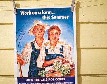 Work on a Farm this Summer - Vintage Farm Poster Reproduction - Victory Garden, Idyllic Couple, Man with a Pitchfork