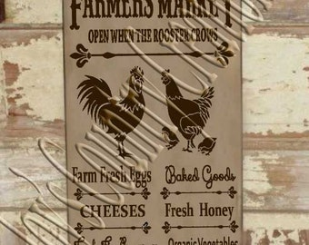 Farmers Market Rooster  SVG, PNG, JPEG