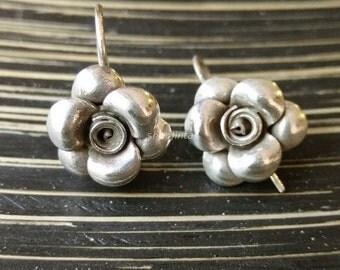 925 Sterling Silver Earrings Handmade 925 Sterling Silver Plain Flower Silver Earrings