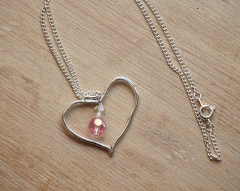 Heart necklace-double bead