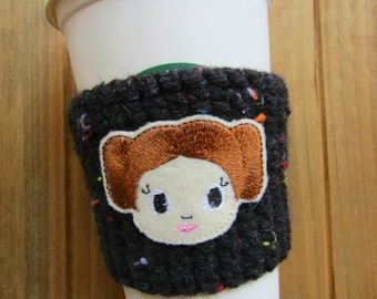 Star Princess Crochet Coffee Cozy!  To Go Travel Cup Coffee Sleeve!  Geeky Gift Princess Gift Cosy