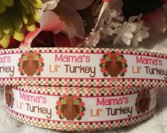 "3 yards, 7/8"" mamas little turkey design grosgrain ribbon"