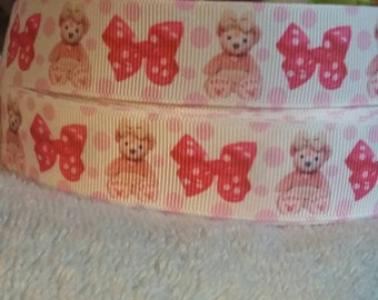 3 yards 1' grosgrain ribbon pink teddy bears with pink bows with polka dots.