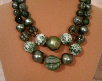 Vintage German Beaded Two String Necklace with Shades of Green