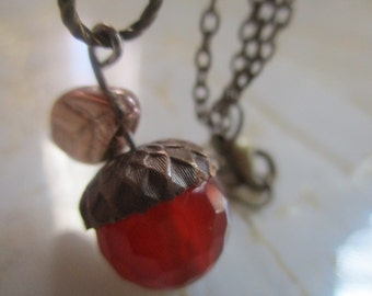 Acorn Orange Agate Necklace Harvest Necklace Pumpkin Necklace Thanksgiving Necklace