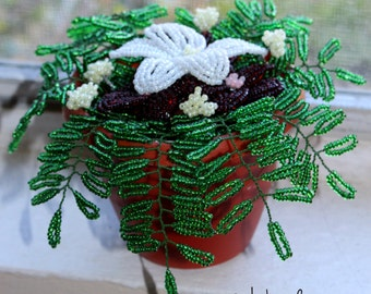 Beaded Miniature flowers in the plastic Pot