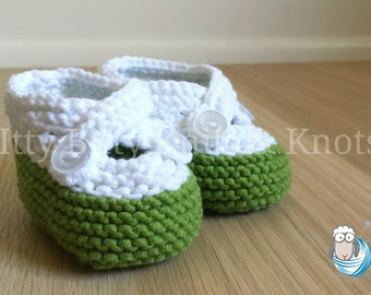 Double Strap Booties, Green & White