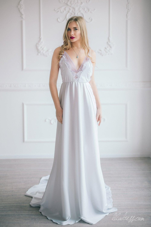Elegant Silk And Lace Wedding Dress White Prom Dress
