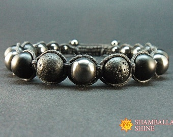 Black gemstone bracelet Man jewelry Shungite bracelet Lava beads Hematite gemstone Dark men bracelet Calming Bracelet Contemporary bracelet