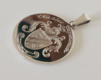 The Traditional hand made Family crest pendant available in platinum, gold or hallmarked sterling silver