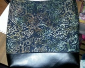 Slouch bag in Dark Batik Fabric and Faux Leather Bottom