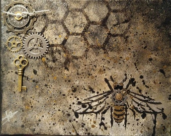 The Bee Keeper 8x10 mixed media canvas painting