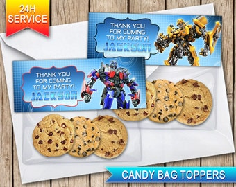 Transformers Candy bag toppers Printable digital bag toppers Optimus Prime BumbleBee bag toppers