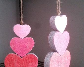 Wooden Triple Heart Valentine's Ornament