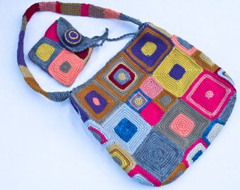 Naturally dyed wool bag