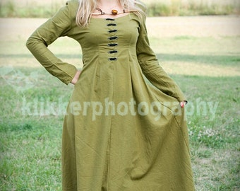 Medieval, Renaissance ,Linen, Green Dress