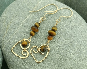 14k gold filled tiger eye heart earrings