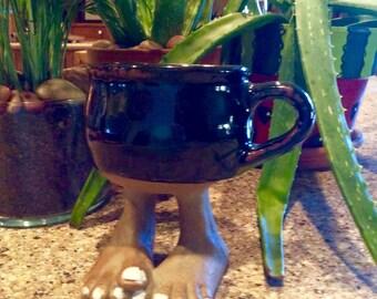 Coffee Mug, Handmade Coffee Mug, Foot Coffee Mug, Folk Art  Coffee Mug