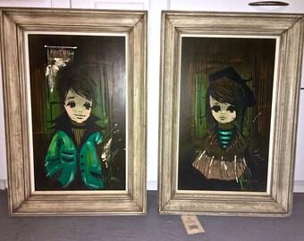 Pair of vintage boy and girl Mid Century Modern paintings by Van Guard 1960s