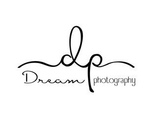 Photography Initials Logo with swirls & matching Watermark, Modern Minimal style  - customizable premade