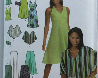 Simplicity 4640 sz DD 4-10 women's dress top poncho skirt pants purse wardrobe
