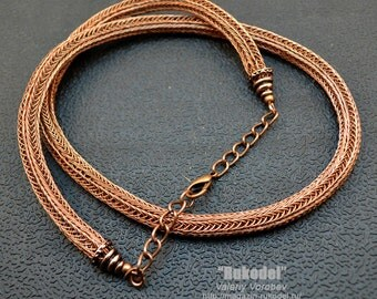 Wire wrap necklace - Viking Knit (copper)