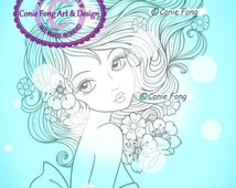 Digital Stamp, Digi Stamp, digistamp,  Leilani by Conie Fong, Coloring Page, girl, flower, scrapbooking