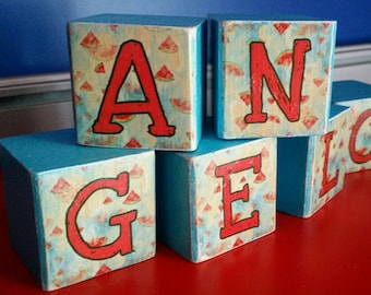 Wooden cubes with custom theme name Watermelon