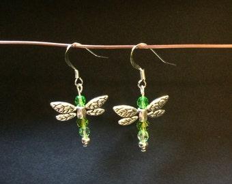 Earrings Green dragonfly