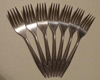 Lasting Rose Vintage Oneida Stainless Flatware 7 Salad Forks