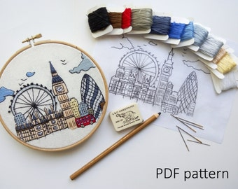 London, Great Britain. Hand Embroidery pattern PDF. Embroidery Hoop art,  Wall Decor, Housewarming Gift. Free Hand embroidery guide!