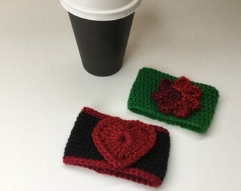 crochet cup cozy, heart cup cozy,stocking stuffers,beverage sleeve, coffee cup cozy, tea cup cozy, coffee cup sleeve, Xmas gifts, set of 2