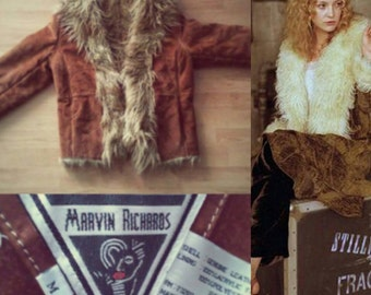 Vintage boho faux shearling and suede coat.