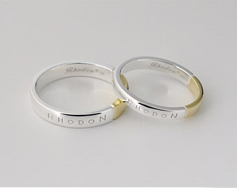 Set of Double Color Rings,Personalized Wedding Band Rings, Name engraved Rings